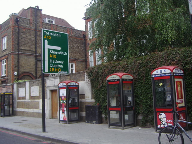 Phone boxes and road sign, Stoke Newington High Street
