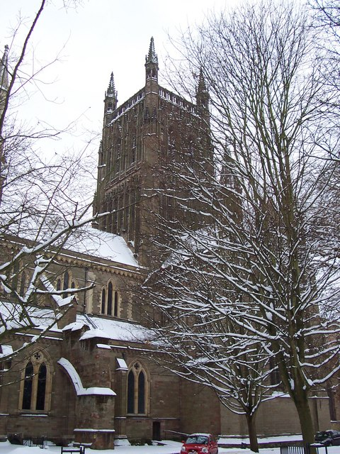 Worcester Cathedral in the snow