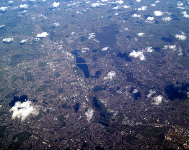 Lea Valley Reservoirs from the air