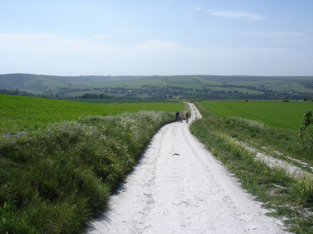 Descending towards Litlington from Lullington Heath