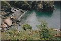 SW9137 : Paradoe Cove at Nare Head in 1992 by peter robinson