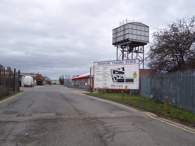 Pershore Trading Estate and water tower