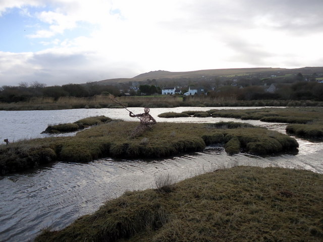 Wicker kayaker with view of  Carn Ingli