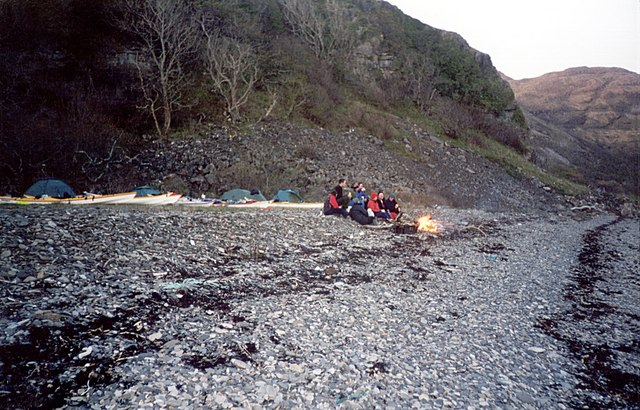 Sea kayakers' camp fire, Camas Choire Mhuilinn