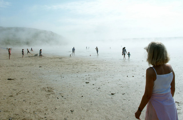 Summer sea fret on Daymer beach