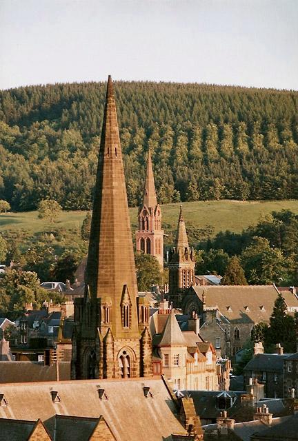 Three church spires in Galashiels