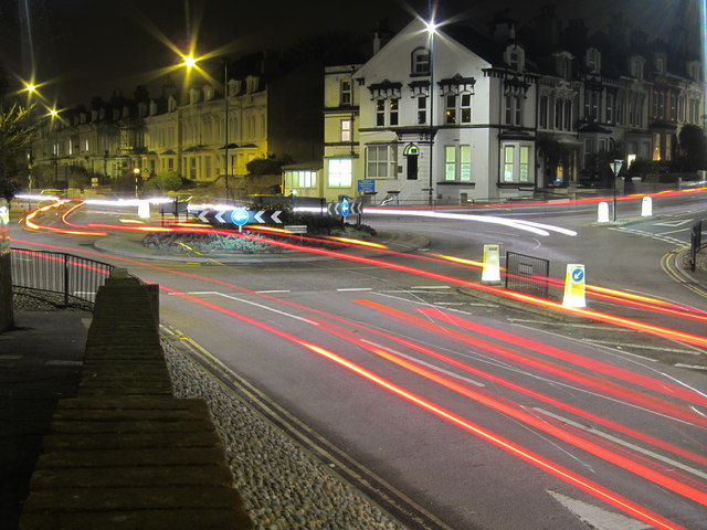Roundabout at night