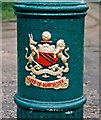 SD8303 : Manchester City Coat of Arms on old traction standard, Heaton Park Tramway by P L Chadwick