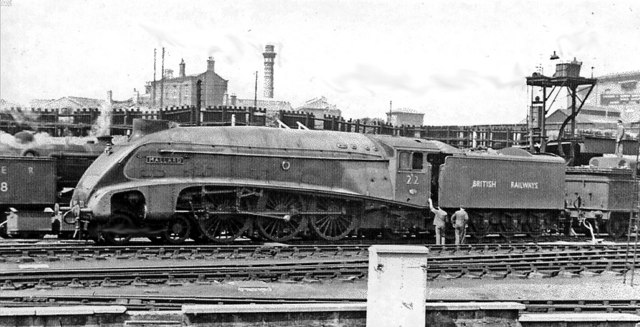 The 'World's Fastest Steam Locomotive' , 'Mallard' with a transitional number, at King's Cross in 1948