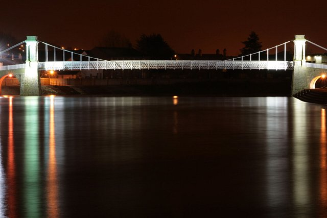 Wilford Suspension Bridge with reflection