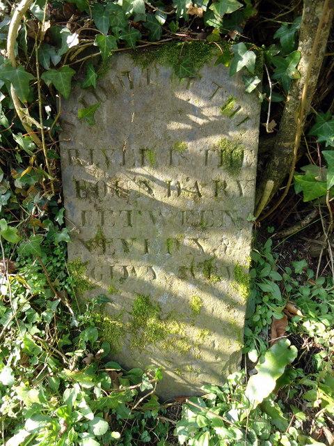 Boundary stone at Pont Bren Pwll y Brag