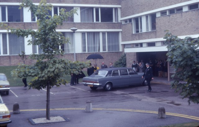 Princess Alexandra arriving at Lancaster University (1974)