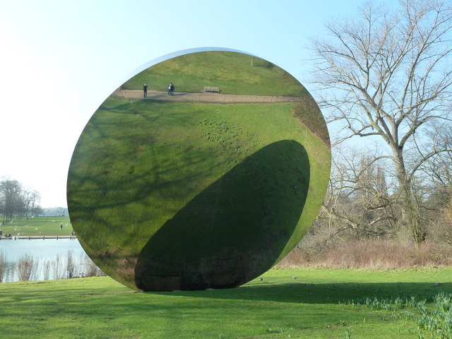 Part of 'Turning the World Upside Down', sculptures by artist Anish Kapoor in Kensington Gardens, Creative Commons Graham Hogg.
