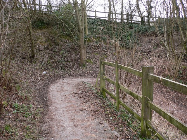 Zig-zag path going down from The Street to Thundery Hill