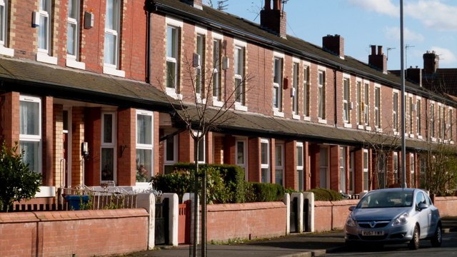 Terrace housing on Playfair Street in Moss Side