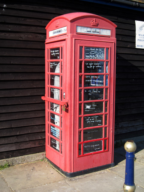 Telephone box art installation