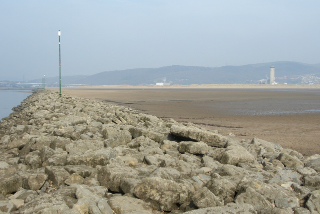 Wall on the east side of the River Neath at Aberavon Sands