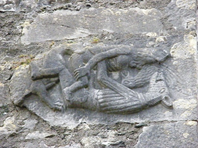 Carved stone on kilkea castle dougf geograph ireland
