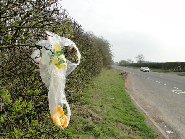 Discarded plastic bag and orange peel on the A140
