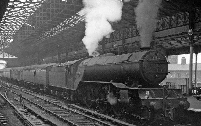 Leeds Central Station, with a V2 on empty stock
