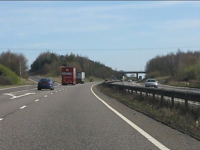 A42 at junction 14 (A453)