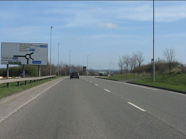 A453 approaching Donington Park service area