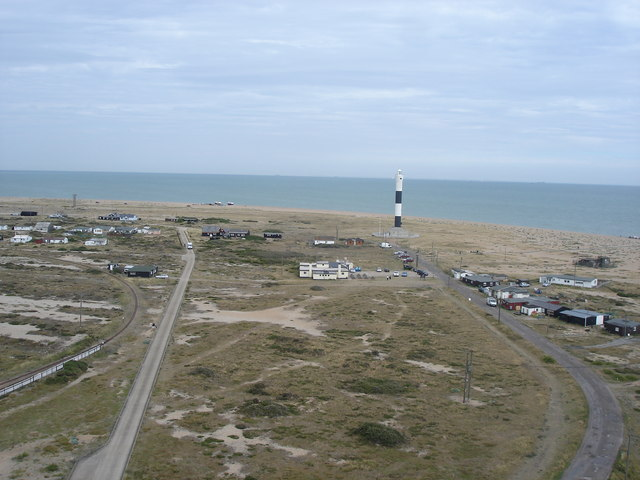 Dungeness - view from the 1901 lighthouse towards the 1961 lighthouse