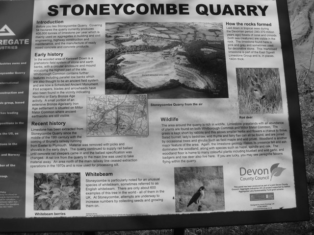 Stoneycombe Quarry ~ Information Board