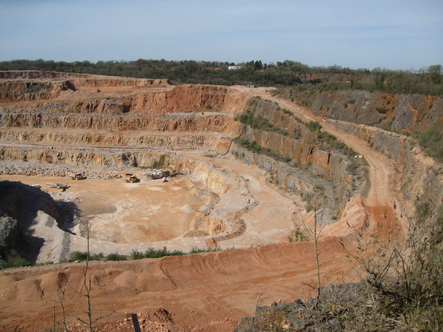 Stoneycombe Quarry workings from viewing platform