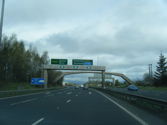 A55 eastbound at Ewloe