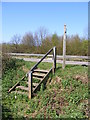 TM2852 : Steps of the restricted byway to the A12 Wickham Market Bypass by Adrian Cable