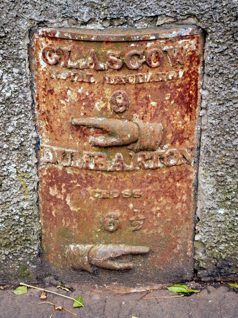 Old milestone in Duntocher