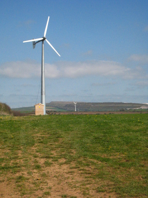 Small wind turbine on farmland near... (C) Rod Allday :: Geograph ...