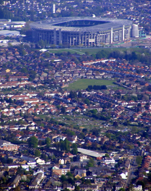 Hounslow and Twickenham Stadium from the air
