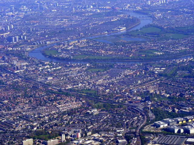 Chiswick and the Thames from the air