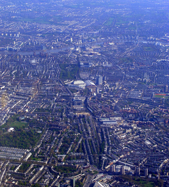 Olympia, Earls Court and the Thames from the air
