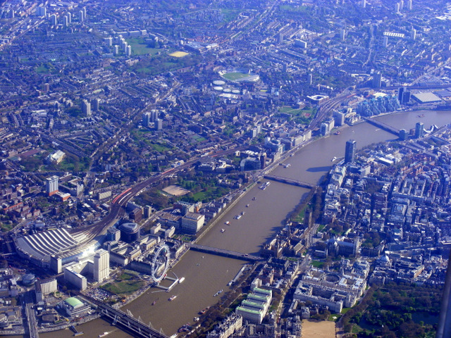 Whitehall and the Thames from the air