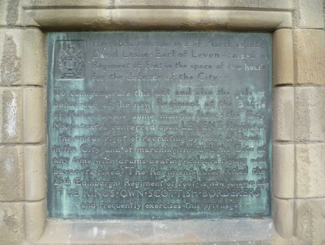 King's Own Scottish Borderers plaque, Edinburgh Castle Esplanade