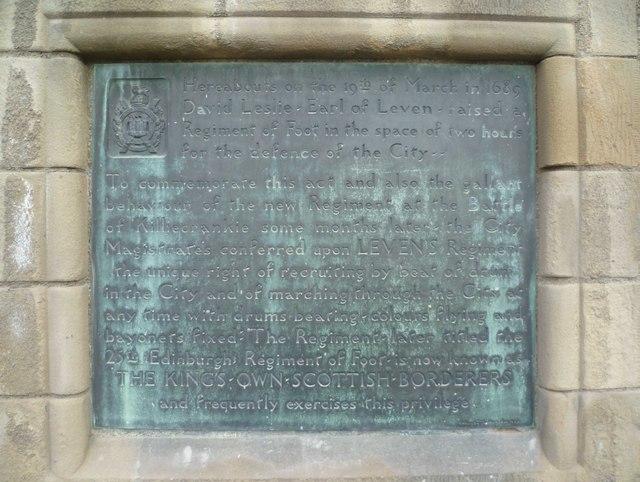 King's Own Scottish Borderers plaque, Edinburgh Castle Esplanade