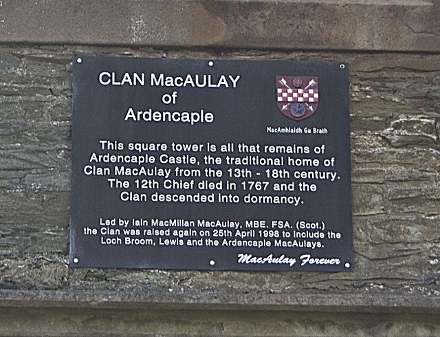 Plaque on Ardencaple Tower, Helensburgh