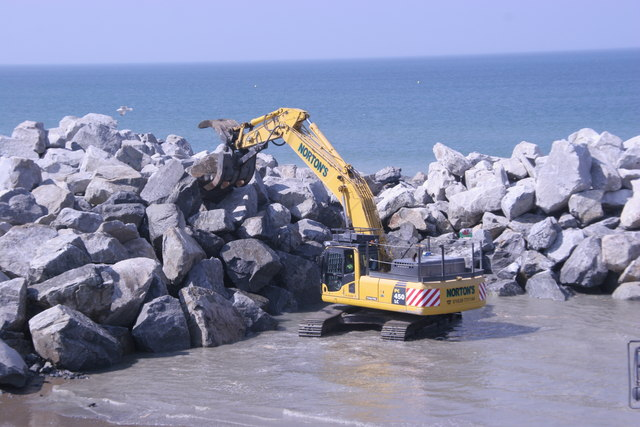 Moving giant rocks:  Borth sea defences