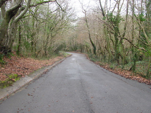 Minor road between The Black Cock Inn and Caerphilly