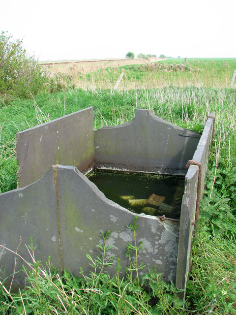 Slate water trough at Lockgate Farm ruins