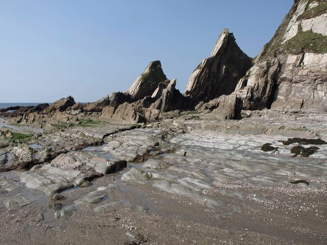 Wave-cut platform, Westcombe Beach