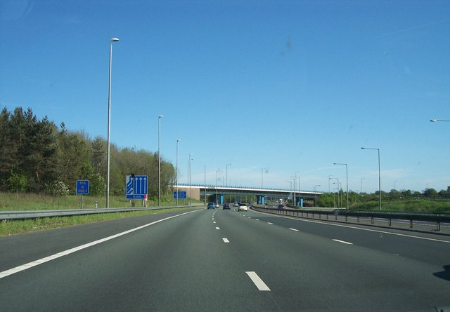 The M6 approach to junction 32 with the M55