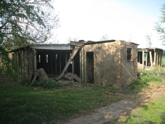 Derelict buildings at Ludford Magna