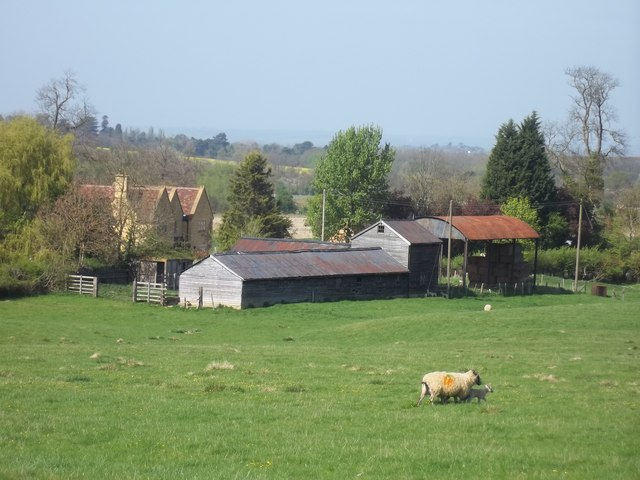 Farm buildings across the field