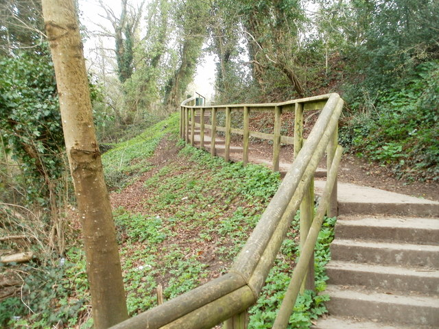Steps from football pitch to disused canal, Pontnewydd, Cwmbran