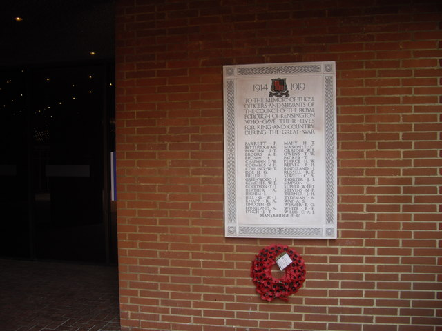 WWI war memorial outside Kensington Town Hall