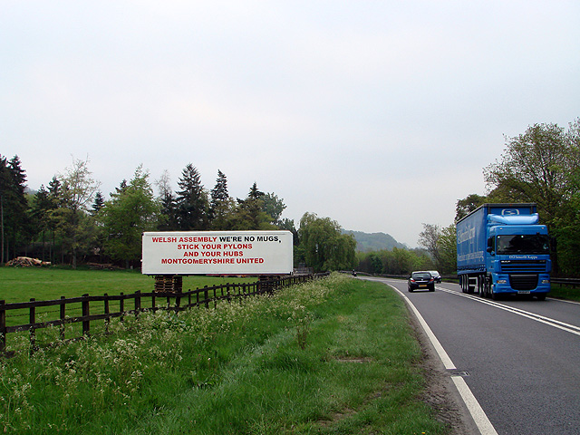 Protest sign beside the A483 road